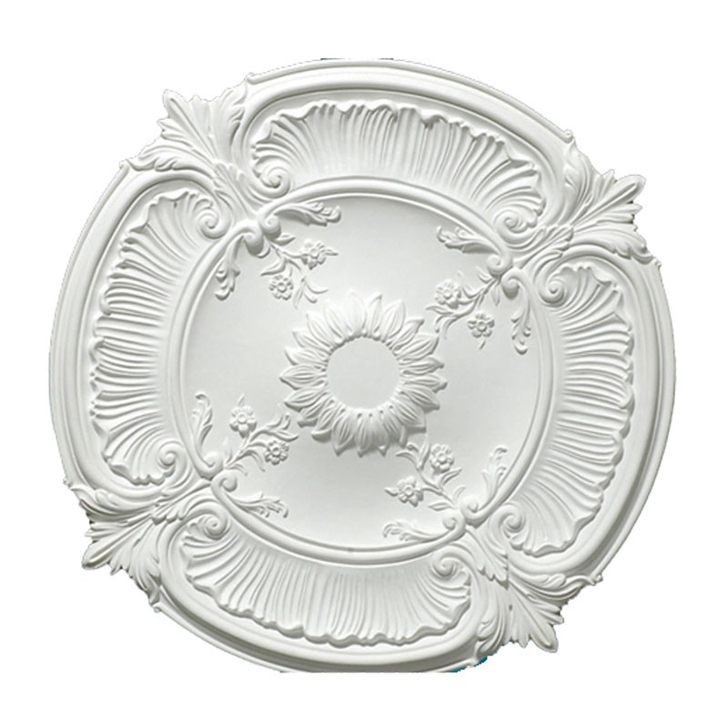 30 po Médaillon de Plafond Blanc Irrégulier en Polyréthane (DK-DKM-5005)