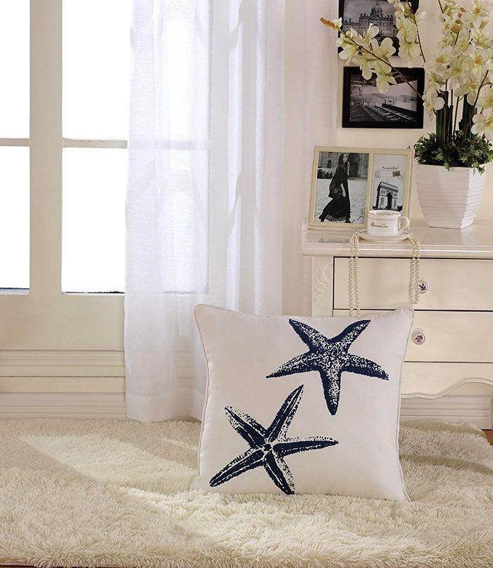 Starfish Printed Cotton Cushion Cover (DK-LG002-1)