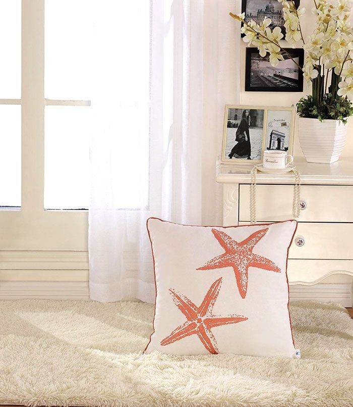 Starfish Printed Cotton Cushion Cover (DK-LG002-2)