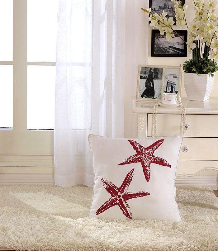 Starfish Printed Cotton Cushion Cover (DK-LG002-3)