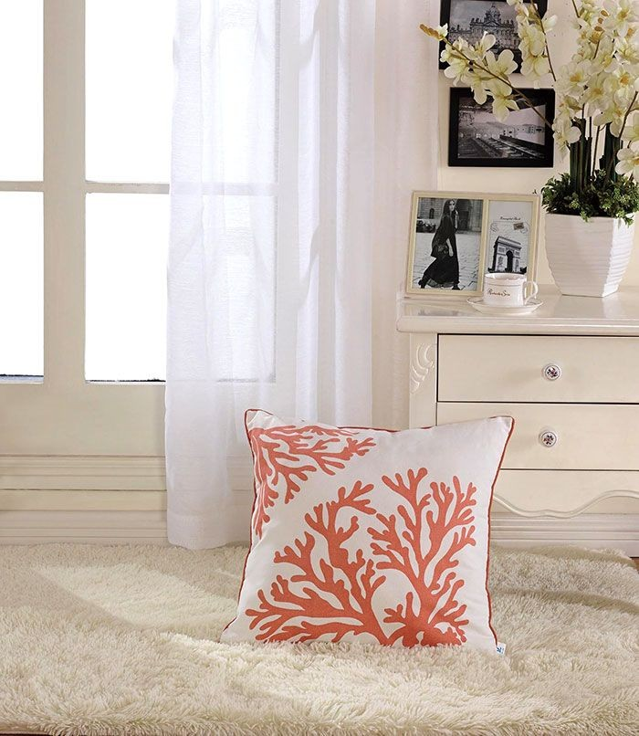 Coral Printed Cotton Cushion Cover (DK-LG003-2)