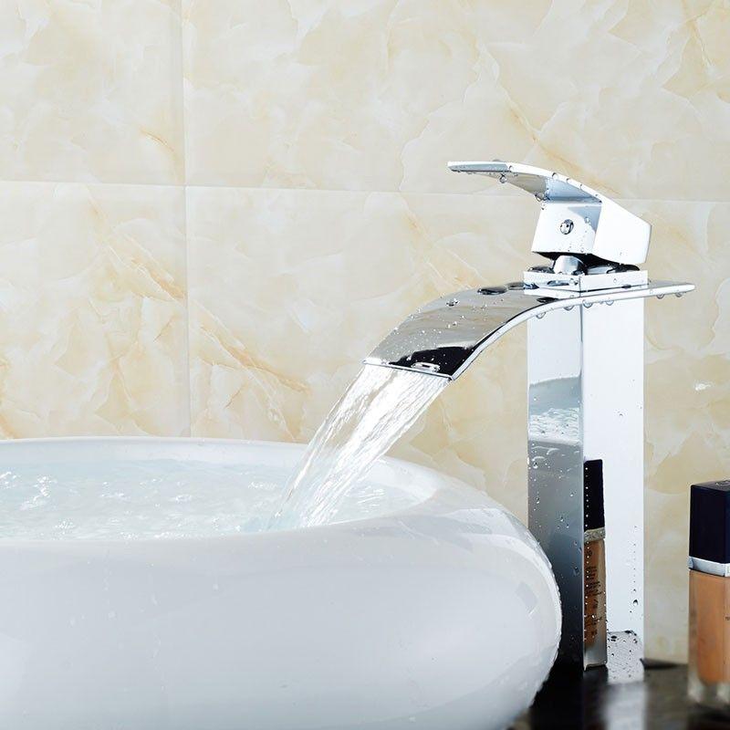 Robinet à Cascade de Lavabo&Vasque - Simple Trou Simple Levier - Laiton Fini Chrome (81H36-CHR)