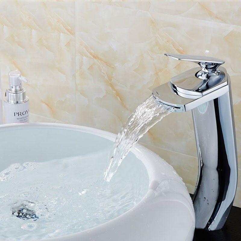 Robinet à Cascade de Lavabo&Vasque - Simple Trou Simple Levier - Laiton Fini Chrome (81H18-CHR)