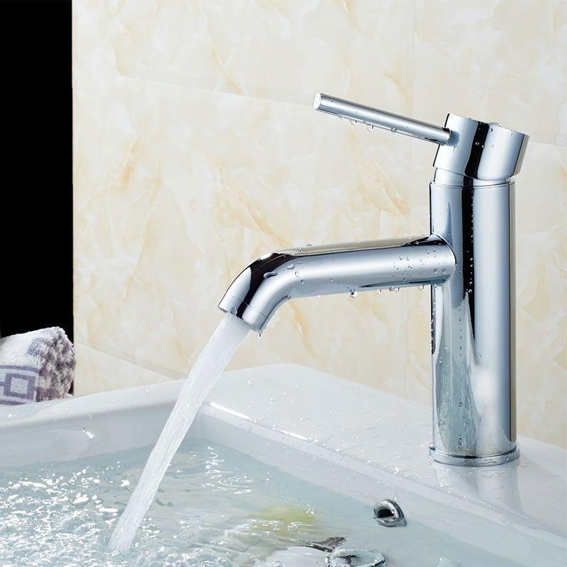 Robinet de Lavabo&Vasque - Simple Trou Simple Levier - Laiton Fini Chrome (81H13-CHR)