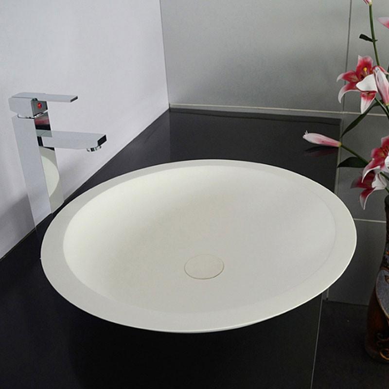 Lavabo-Vasque Rond de Dessus de Comptoir en Pierre de Synthèse Blanche (DK-HB9004)