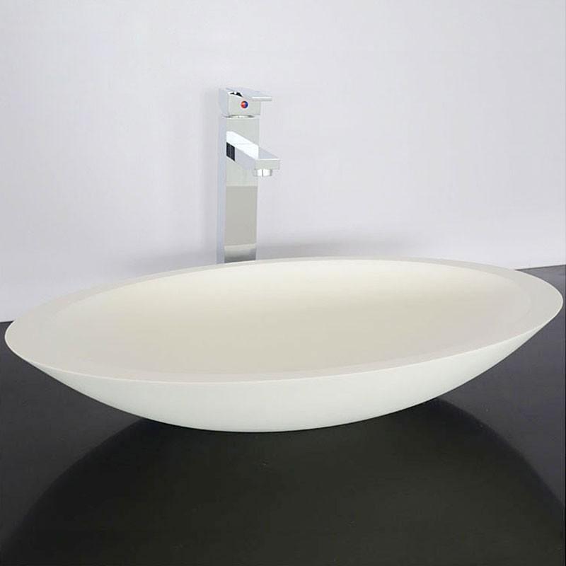 Lavabo-Vasque Ovale de Dessus de Comptoir en Pierre de Synthèse Blanche (DK-HB9005)