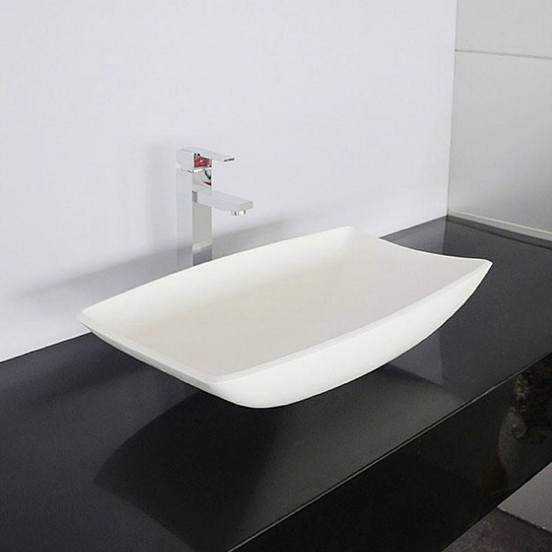 lavabo vasque rectangle de dessus de comptoir en pierre de synth se blanche dk hb9016. Black Bedroom Furniture Sets. Home Design Ideas