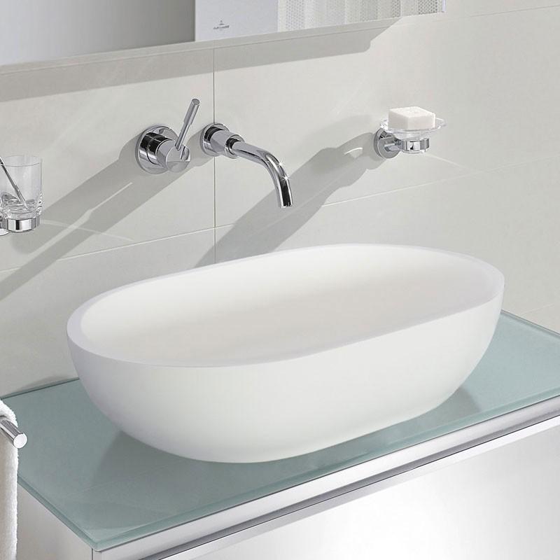 Lavabo-Vasque Ovale de Dessus de Comptoir en Pierre de Synthèse Blanche (DK-HB9033)
