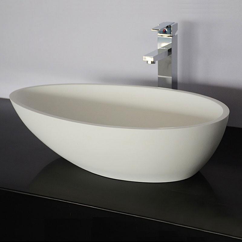 Lavabo-Vasque Ovale de Dessus de Comptoir en Pierre de Synthèse Blanche (DK-HB9035)
