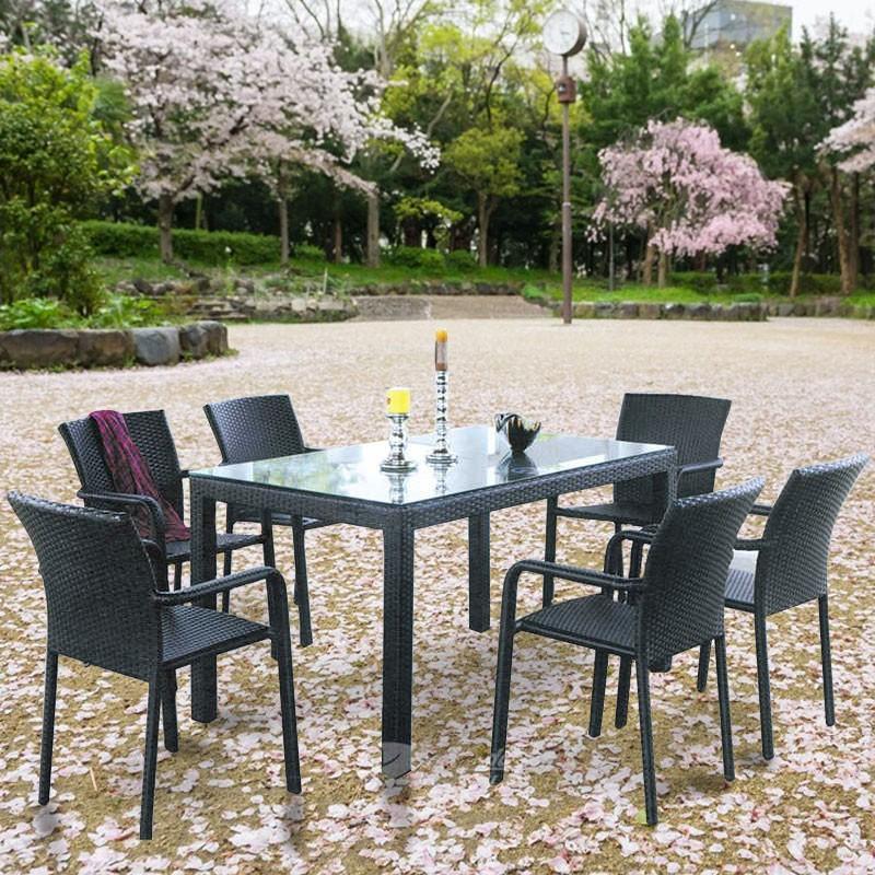 Salle à Manger de Jardin de 7 Pièces: Table à Manger, 6 Chaises (JMS-6122)
