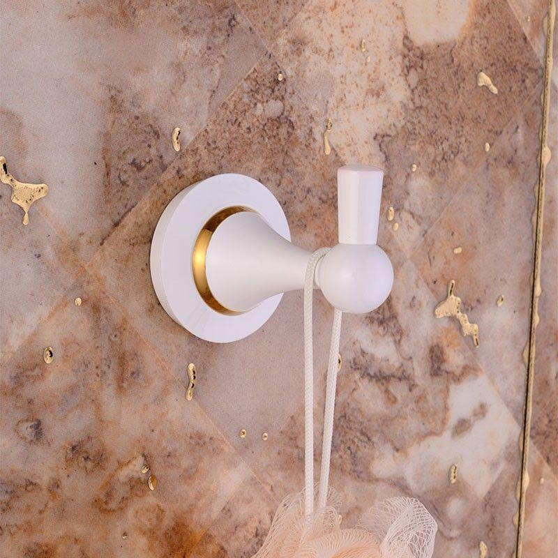 Crochet à Peignoir - Laiton Peint Blanc (80353D)