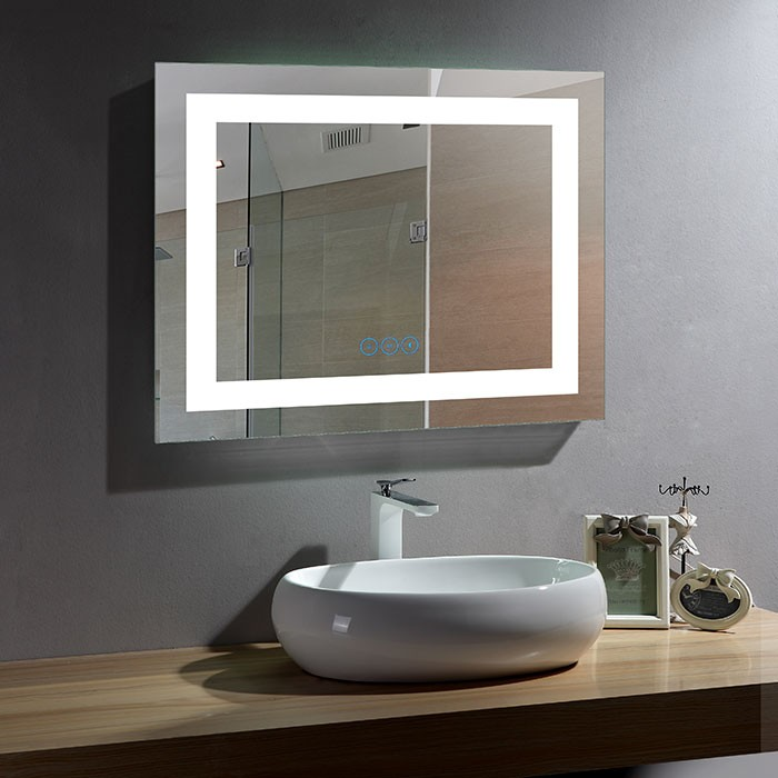 28 x 36 po Miroir LED Horizontal Anti-buée avec Bluetooth (DK-OD-CK010-B)