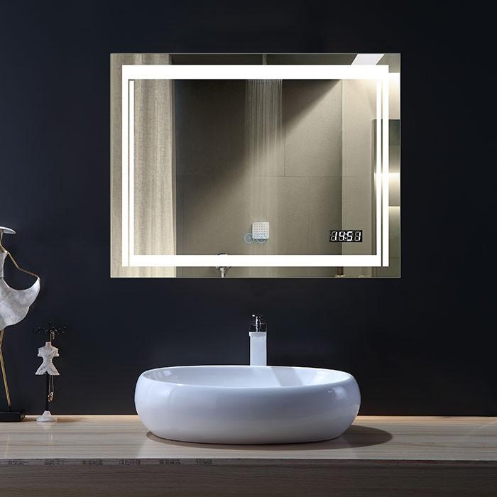36 x 28 po Miroir LED Horizontal Anti-buée avec Horloge (DK-OD-CK150-C)