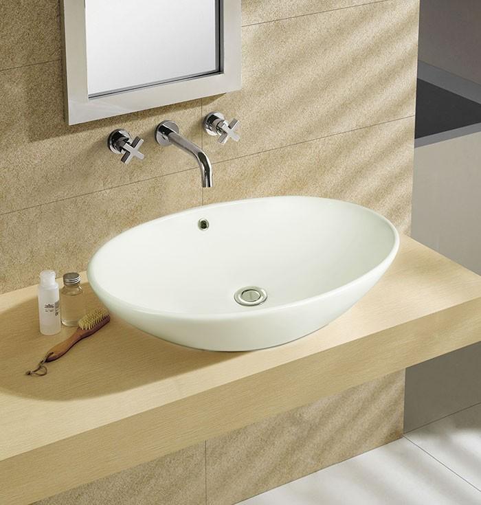Lavabo-Vasque de Dessus de Comptoir en Céramique Blanche (DK-LSE-8018)