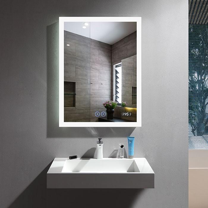 24 x 32 po Miroir LED Vertical Anti-buée avec Horloge (DK-OD-N031-CW)