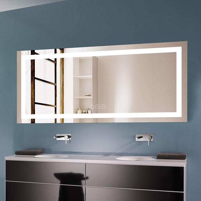 70 x 32 po Miroir LED Horizontal Anti-buée avec Bluetooth - Luminosité Réglable (DK-OD-CK010-T)