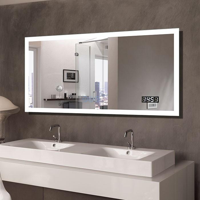 55 x 28 po Miroir LED Horizontal Anti-buée avec Horloge et Bluetooth (DK-OD-N031-BC)