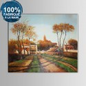 Peinture à l'Huile 100% Peinte à la Main sur Canevas sans Cadre - Paysage du Village (DK-JX-YH041)