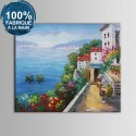 Peinture à l'Huile 100% Peinte à la Main sur Canevas - Paysage Méditerranéen Abstrait (DK-JX-YH037)