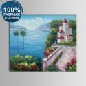 Peinture à l'Huile 100% Peinte à la Main sur Canevas - Paysage Méditerranéen Abstrait (DK-JX-YH031)