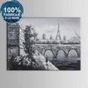 Peinture à l'Huile 100% Peinte à la Main sur Canevas -  Paysage de Rue à Paris (DK-JX-YH010)