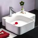 Lavabo-Vasque de Dessus de Comptoir en Pierre de Synthèse Blanche (DK-HB9044)