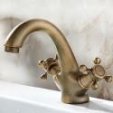 Robinet de Lavabo&Vasque - Simple Trou Double Levier - Laiton Fini Cuivre Antique (6911)