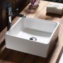 Lavabo-Vasque Carré de Dessus de Comptoir en Céramique Blanche (CL-1262-1)