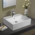Lavabo-Vasque de Dessus de Comptoir en Céramique Blanche (DK-LSE-8113)
