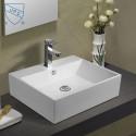 Lavabo-Vasque de Dessus de Comptoir en Céramique Blanche (DK-LSE-8114)
