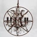 Orb Lustre Vintage à 6 Ampoules en Cristal et Fer/Diamètre de 22 po (C6024-6A)