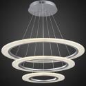 """Suspension LED Moderne avec 3 Anneaux en Acrylique Fini Chrome/Largeur 24"""" (BH-L5215)"""