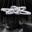 """Suspension LED Moderne avec 3 Anneaux Ajustables en Cristal et Acier Inoxydable/Largeur 24"""" (BH-D5314)"""