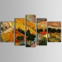 Groupe de Peinture à l'Huile Imprimée sur Toile en Fibre Chimique en Cinq Parties - Paysage (DK-PH-TH39207)