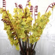 "Artificial Freesia Flower/2 Heads/Piece - 41"" - Yellow"
