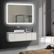 28 x 36 po miroir de salle de bain LED horizontal avec bouton tactile (DK-OD-N031-I)