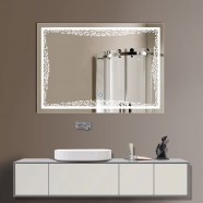 24 x 32 po miroir de salle de bain LED horizontal avec bouton tactile (DK-OD-N011)
