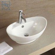 Decoraport Lavabo-Vasque Ovale de Dessus de Comptoir en Céramique Blanche (CL-1038)