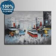 Peinture à l'Huile 100% Peinte à la Main sur Canevas -  Paysage de Rue Abstrait (DK-JX-YH019)
