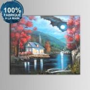Peinture à l'Huile 100% Peinte à la Main sur Canevas - Clair de Lune Abstraite (DK-JX-YH045)