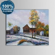 Peinture à l'Huile 100% Peinte à la Main sur Canevas - Maison de Ferme Abstraite (DK-JX-YH043)