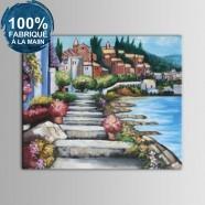 Peinture à l'Huile 100% Peinte à la Main sur Canevas - Paysage Méditerranéen Abstrait (DK-JX-YH038)