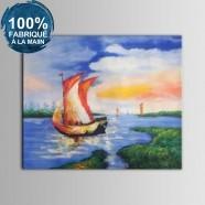 Peinture à l'Huile 100% Peinte à la Main sur Canevas - Paysage de la Mer Abstrait (DK-JX-YH033)