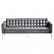 Canapé ou Sofa 3 Places en Cuir Artificiel Noir (SF-014-3)