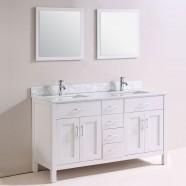 60 po Meuble Salle de Bain Sur Pieds à Lavabo Double avec Miroirs (DK-T9150-60)