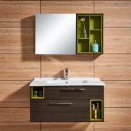 39 po Meuble Salle de Bain Suspendu au Mur à Lavabo Simple avec Miroir LED et Armoire Latérale (DK-660100)