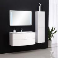 39 po Meuble Salle de Bain Suspendu au Mur à Lavabo Simple avec Miroir LED et Armoire Latérale (DK-8883-100)