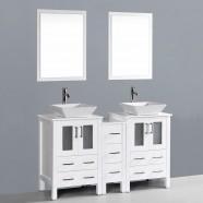 60 po Meuble Salle de Bain Sur Pieds à Lavabo Double avec Miroirs (DK-T9161-60W)