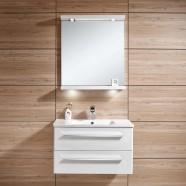 31 po Meuble Salle de Bain Suspendu au Mur à Lavabo Simple avec Miroir et Lampe (DK-606800)