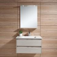 31 po Meuble Salle de Bain Suspendu au Mur à Lavabo Simple avec Miroir et Lampe (DK-603800)